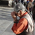 Pilgrim in front of Jokhang Temple