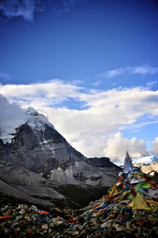 Prayer flags along a high pass