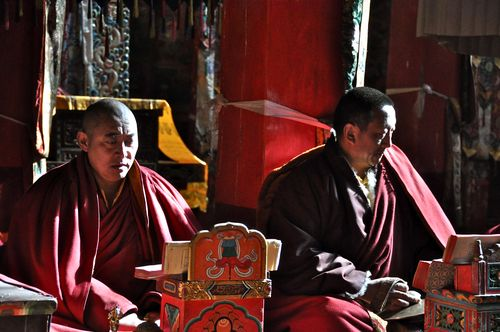 Monks at Damkhar Monastery