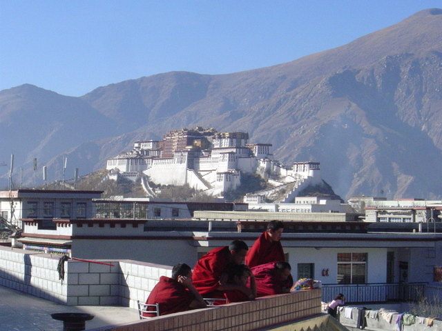 Monks on the roof